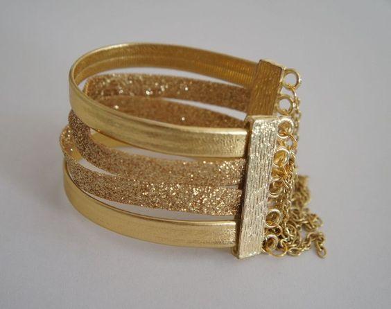 Pulseira Dourada de Tiras R$ 11,50 - Miss Valentine