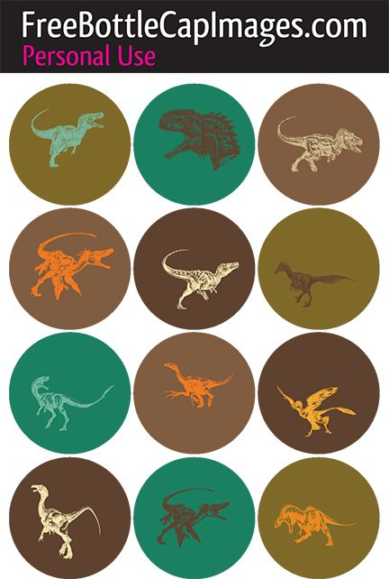 Printable Dinosaur Sheet – 1 inch circles | Free Bottle Cap Images