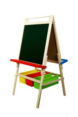 Emmy's art easel looks exactly like this, just with two bigger storage baskets instead of the three smaller ones shown here.