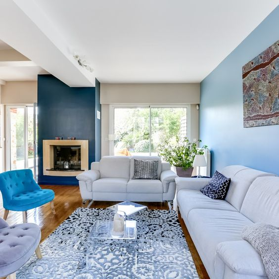 Emejing Decoration Salon Bleu Et Beige Contemporary - Seiunkel.us ...