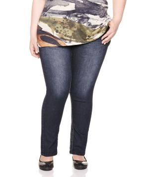 Plus Size Petite Slightly curvy 5 pocket skinny jeans ...
