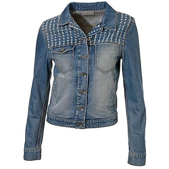 Heine Worn Look Denim Jacket (£89) ❤ liked on Polyvore featuring outerwear, jackets, blue jean jacket, denim jackets, cotton jacket, cotton jean jacket and blue jackets