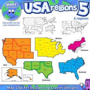 Regions Of The Usa Five Regions Map Clip Art Us Geography Homeschool Social Studies 4th Grade Social Studies Regions of us worksheets