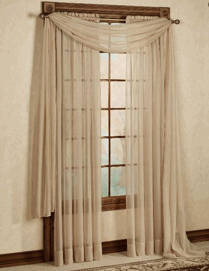 Curtains Ideas contemporary curtain : Stylemaster Elegance Voile Curtain – Bisque / Taupe - Contemporary ...
