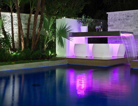 Outdoor Dining Table Water Feature W LED Lighting At The New American Home PhilKean