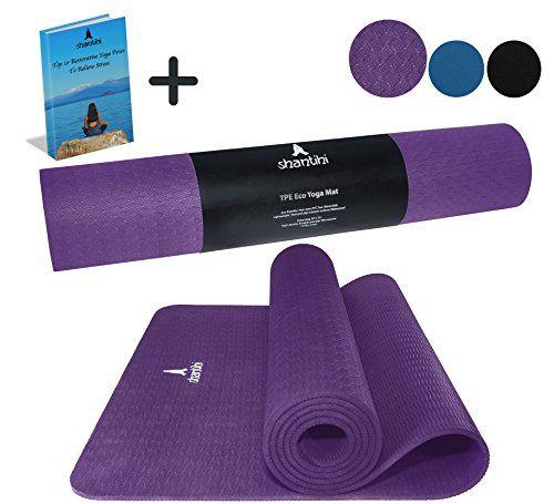 Shantihi Yoga Mat Thick Eco Friendly Premium Tpe Yoga Mat Non Slip Reversible Durable Exercise Pilates Mat Free Bonus Ebook 72 X24 5mm Dark Purple For Sale Best Resistance Bands Pilates