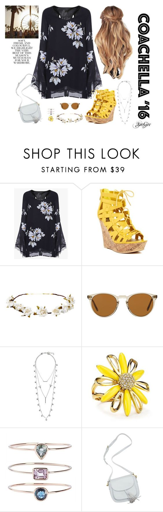 """Coachella Inspired by SmGee"" by smgee ❤ liked on Polyvore featuring G by Guess, Cult Gaia, Oliver Peoples, Lucky Brand, Kate Spade, 19Fifth, Été Swim and Folio"