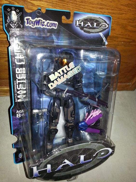 Limited ToyWiz Exclusive Halo 1 Battle Damaged Black Master Chief Action Figure