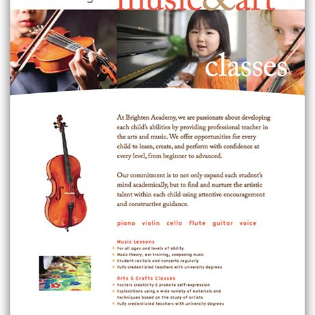 One Page Music Brochure | Brochure Ideas -trifold and single ...