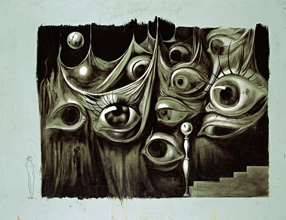 "Salvador Dali ""Eyes and Staircase"" 1945 oil& gouache on composition board"