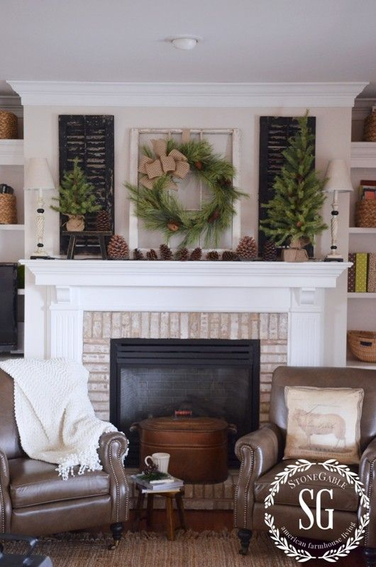 Farmhouse christmas mantel mantels shutters and mantles for Farmhouse fireplace decor