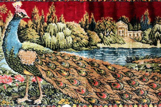 Vintage Italian Peacock Tapestry