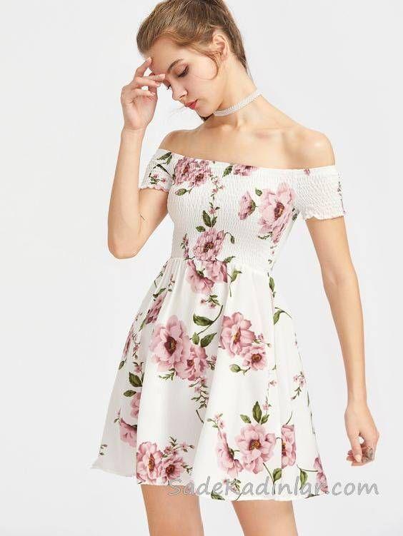 2020 Yazlik Kisa Elbise Modelleri Beyaz Kisa Omzu Acik Dusuk Kol Lastikli Yaka Desenli Elbise Modelleri Elbise Yazlik Kiyafetler
