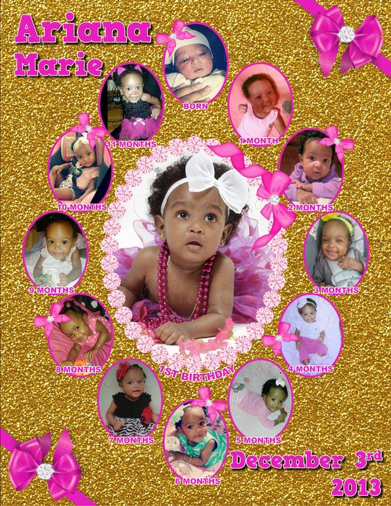 Gold Glitter & Pink Bows Monthly Collage   The best way to remember your child's first year is to make a photo collage of their monthly photos. This is the perfect memory to share with your family & friends on your child's special first birthday!  I also offer CUSTOM collages with ANY THEMES at all!  Quick turn around time and I guarantee you will LOVE IT!  Copyright © 2015 All rights reserved Anna Roze Design