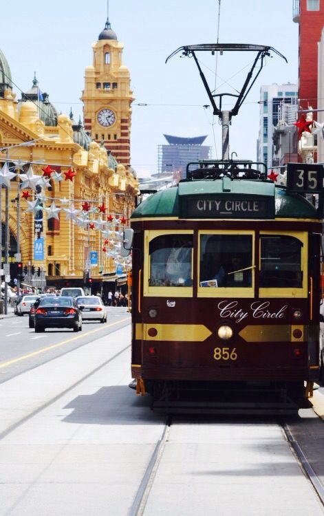Free for everyone. The No 35 City Circle Heritage Tram. It circles the CBD (City Business District)