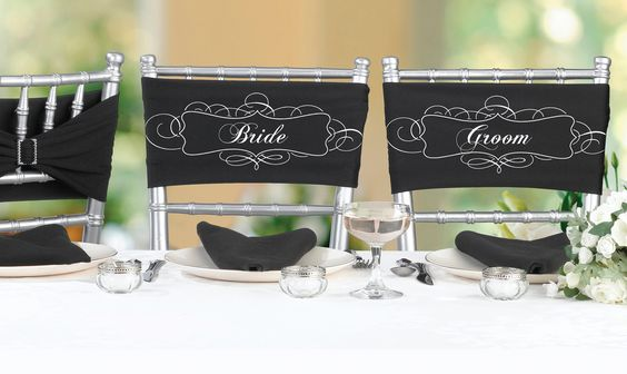 Bride and Groom Wedding Chair Sashes