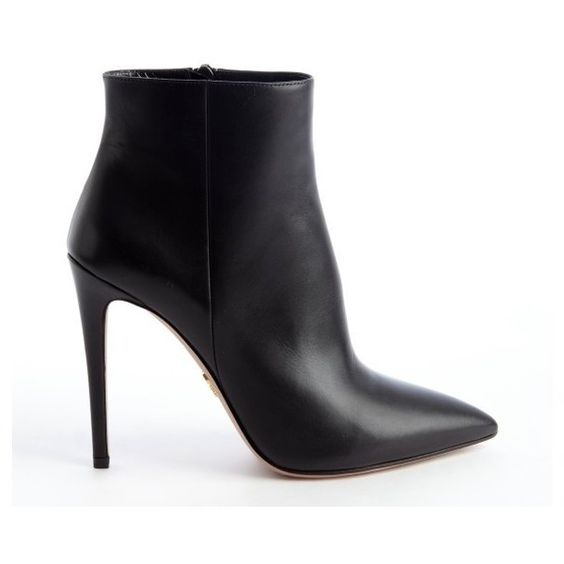 Prada Black pointed toe 'Vitello Lux' ankle zip leather booties ...