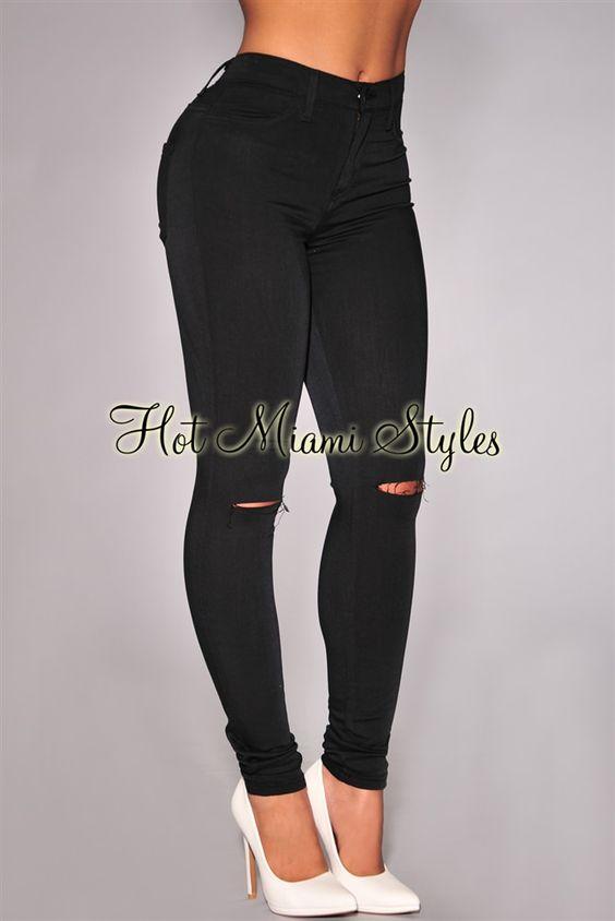 Black Ripped Knee High-Waist Skinny Jeans