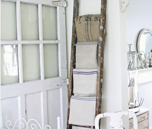 Shabby Chic Interior Ladder Towel Storage Create Some Cool Shabby Chic Bat