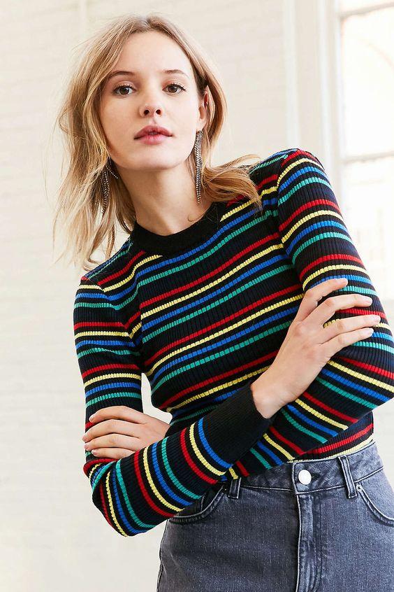 BDG Lily Rainbow Stripe Crew-Neck Sweater