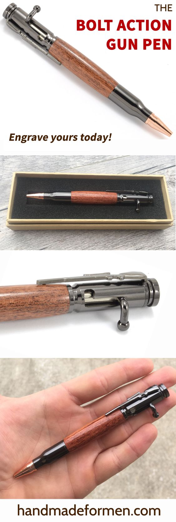 Great Father's Day Gift Ideas! This American made bolt action pen is the perfect gift for him. $39 or add engraving for just $10! See them all at handmadeformen.com