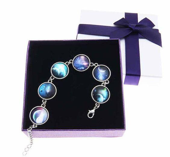 Universe bracelet.Galaxy Space Bracelet, Nebula Outer Space Stack Bracelet