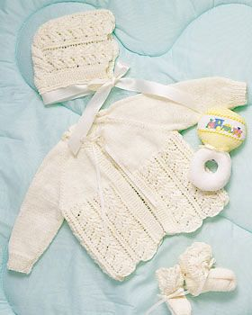 baby layette knitting pattern creates a matching set of delicate baby jacket and baby bonnet. The baby bonnet and jacket are tied with sweet satin ribbon. Pair with knitted baby booties.