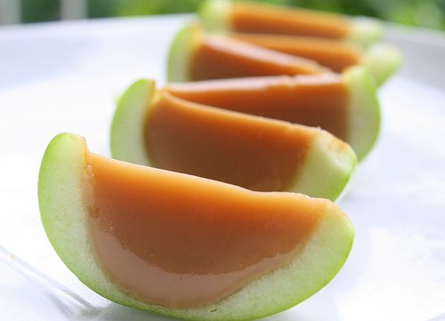 Caramel Apple Jello Shots made with Butterscotch Schnapps - would be great for fall!