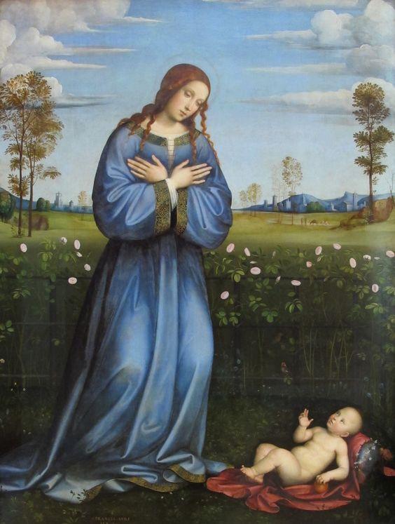 Francesco Raibolini,  called Francesco Francia  (1450-1517) —  Adoration of the Child, c.1500  : The Alte Pinakothek,  Munich.  Germany     (1369×1814):