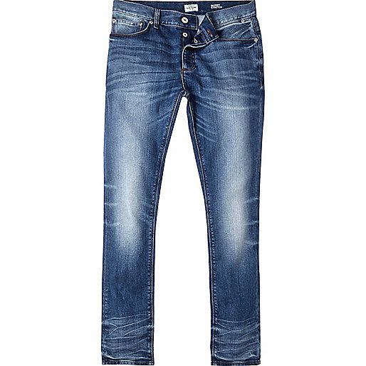 Mid blue wash denim Skinny fit Button and zip fly fastening Five pocket detail Belt loops