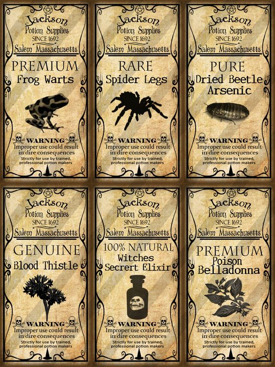 Digital Collage Sheet Altered Art Domino Potion Labels Halloween 1X2 inches (Sheet No. FS173). $2.00, via Etsy.