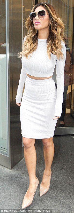 Nicole Scherzinger Cuts A Sophisticated Figure In Cream Crop Top