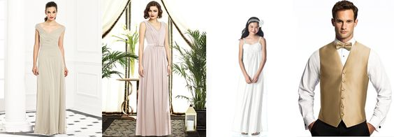 Dessy suggestions for Lena and Fin's wedding attire