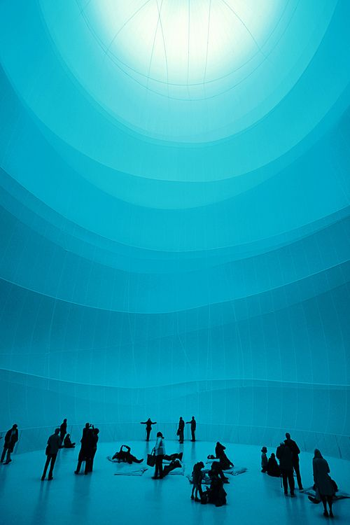 """Christo. The """"largest indoor sculpture ever made"""". Opened on March 16 2013, the inflated """"Big Air Package"""" was designed to occupy a 117-meter-tall former gas tank known as Gasometer Oberhausen in Germany. The 90-meter-high, 50-meter-wide sculpture was made from 20,350 square metres of semi-transparent polyester fabric and 4,500 meters of rope, with a volume of 177,000 cubic metres. This was the first major work after the passing of his wife and artistic partner Jeanne-Claude in 2009"""