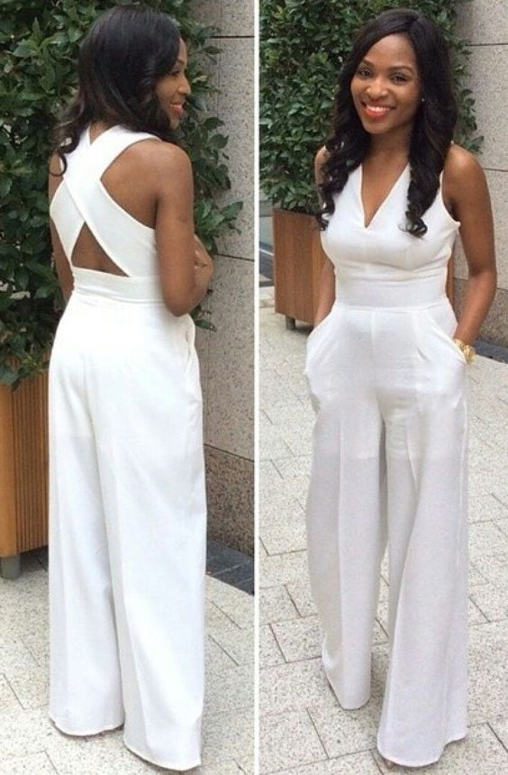 White jumpsuit ~ classy | White outfits | Pinterest | Receptions ...