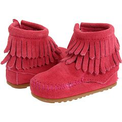 Minnetonka Kids Double Fringe Side Zip Bootie (Infant/Toddler) Hot Pink Suede - Zappos.com Free Shipping BOTH Ways