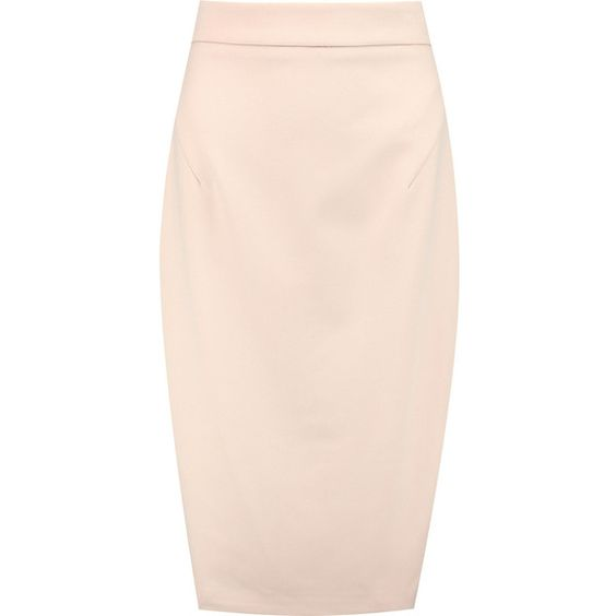 Raoul Stretch-twill pencil skirt (625 RON) ❤ liked on Polyvore featuring skirts, neutral, pink skirt, pencil skirt, raoul, knee high skirts and knee length skirts