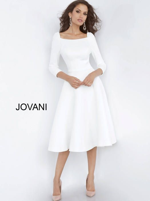Jovani Short And Cocktail 3318 Estelle S Dressy Dresses In Farmingdale Ny In 2020 Mid Length Wedding Dresses Casual Wedding Dress Boat Neckline Dress