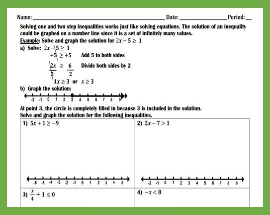 Solving And Graphing Inequalities Worksheet Teaching And Practice Graphing Inequalities Solving Equations Solving Inequalities