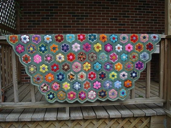 crochet granny blanket using scraps--the one outer color pulls it all together