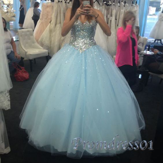 2016 sparkly sequins blue tulle long poofy prom dress, homecoming dress, sweetheart dress for teens #coniefox #2016prom