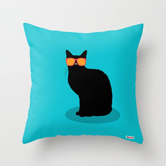 Cool cat throw pillow cover - Cushion cover - Modern pillow cover - Designer pillow - Funny ...