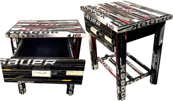 hockey decor | Custom hockey stick night stand with pull out drawer. *All orders are ...