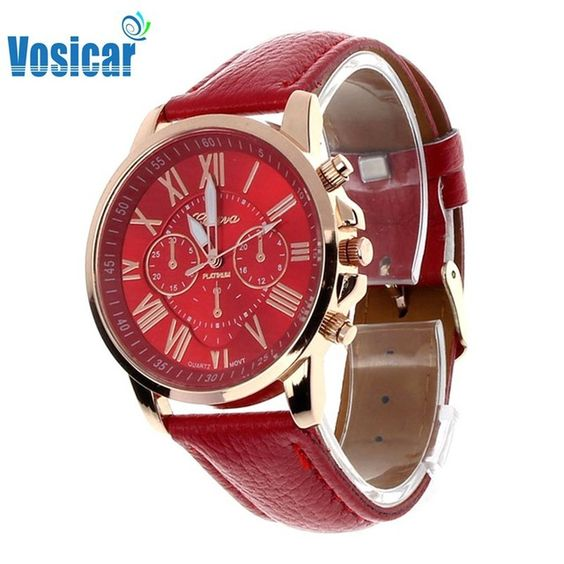 Vosicar New Fashion Women Casual Roman Numerals Luxury PU Leather Analog Quartz Wrist Watch Watches Freeshipping & Wholesale