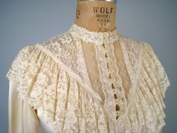 SALE 1970s GUNNE SAX satin and lace blouse  by MintageClothingCo, $30.00