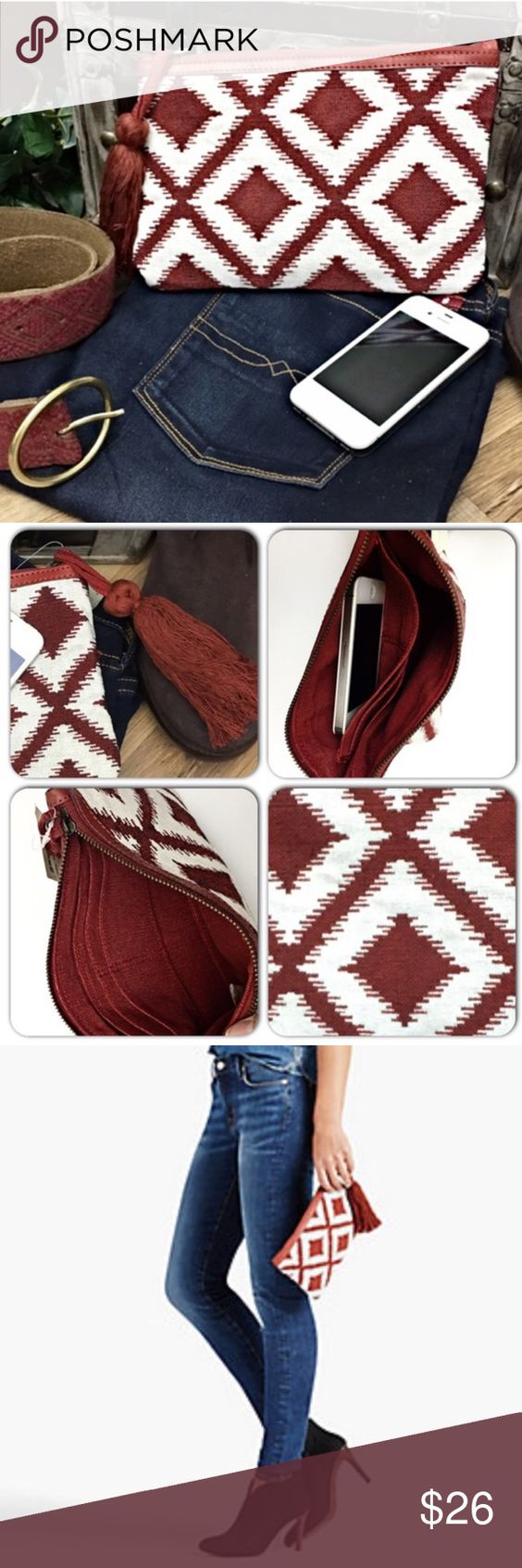 "Lucky Brand Brick Red Tribal Clutches w/Tassel-New Perfect for running errands or to keep inside the a large tote! Versatile pouch crafted from embroidered fabric with an Aztec print and leather trim. Features interior credit card slots and tassel detailing. Approx 9"" long x 6"" high. Brand new with tags! Lucky Brand Bags Clutches & Wristlets"
