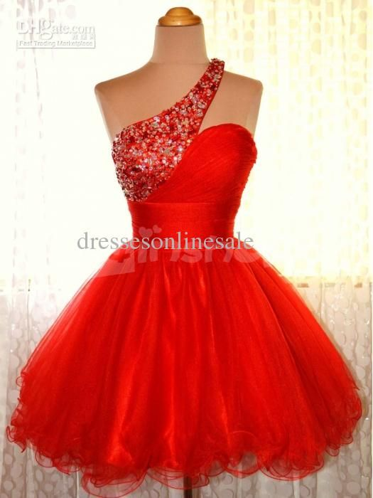 Wholesale 2014 Charming Hot Red A-line One-shoulder Mini Prom ...