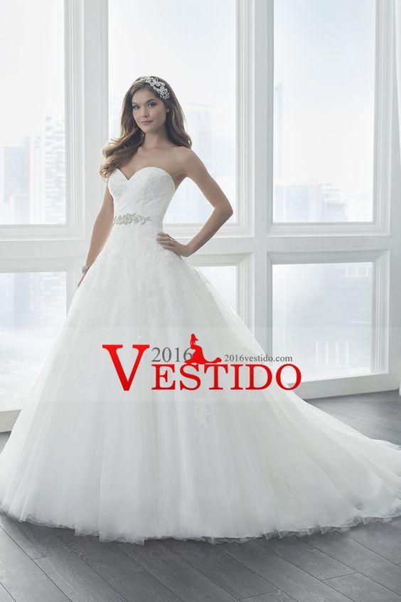 2017 una línea vestido de tul con los vestidos de boda del marco de Aplique Y