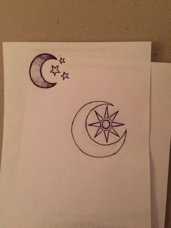 Moon tattoo w/ sun+stars
