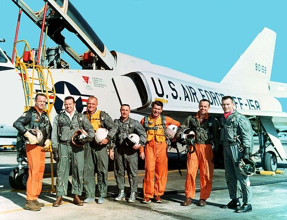 The Mercury Seven in front of 59-0158